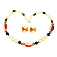 Vintage Lucite Plastic Necklace Earrings Set Fused Colors