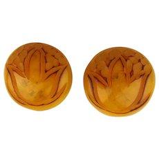 1930s Carved Bakelite Clip Earrings Translucent