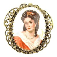 Big Old Pretty Lady LIMOGES Pin Pendant