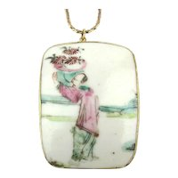 Large Porcelain Hand-Painted Flower Man Pendant Necklace G.F. Chain