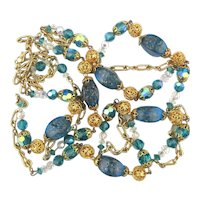 Long Goldtone Flecked Crystal Chain Necklace Design Your Look