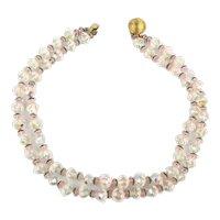 Two Strand Crystal Bead Necklace Aurora Borealis w/ Daisy Caps
