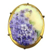 Victorian Pin Hand-Painted Flowers on Porcelain - Purple Pansies Violets