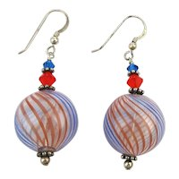 Vintage Italian Striped Glass Ball Earrings on Sterling Wires
