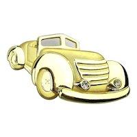 Big Goldtone Classic CAR Pin w/ Crystal Headlights