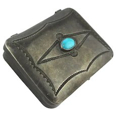 Old Sterling Silver Navajo Pill Box w/ Turquoise