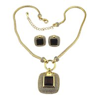 Elegant Necklace Earrings Set - Goldtone w/ Red Crystal