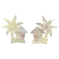 Hand Carved Mother-of-Pearl Cufflinks Palm Tree Hut