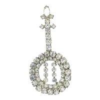 Vintage Figural BANJO Pin Clear Crystal Rhinestones