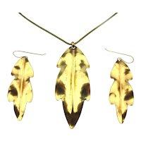 Vintage Marjorie Baer S.F. Sculptural Gilded Leaf Set Necklace Earrings