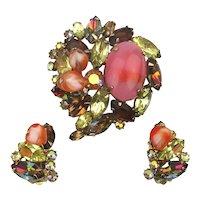 Vintage D&E Juliana Rhinestone Pin Earrings Set
