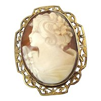 Art Deco Era Carved Shell Cameo Rebel Lady Pin / Pendant - Gold-Filled