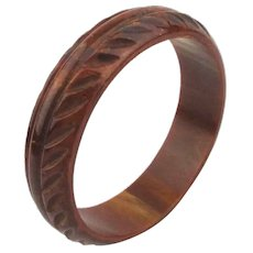 Carved Vintage Bakelite Bangle Bracelet - Swirling Toffee