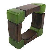 Art Deco Era Wood n Bakelite (Maybe) Square Stretch Bracelet