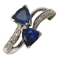 10K White Gold Trillion Sapphire Diamond Ring Size 7 Signed
