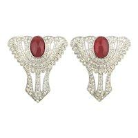 Art Deco Revival Set of Crystal Rhinestone Pins