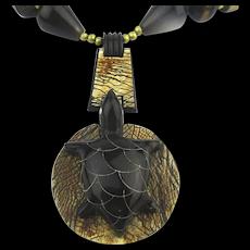 Wood Metal Carved Horn Turtle Necklace