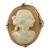 Victorian 14K Gold Hand Carved Shell Cameo Lady Ring
