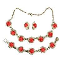 Sarah Cov Carved Roses Parure Set Necklace Bracelet Earrings
