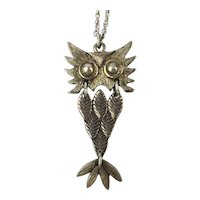 Odd Owl Sterling Silver Pendant Necklace - Articulated