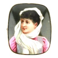 Victorian Hand-Painted Porcelain Pin Brooch Lovely Lady Wrapper