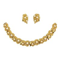 Crown Trifari Pebbled Goldtone  Pearl Bracelet Earrings Set