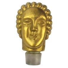 Art Deco Hattie Carnegie Perfume Gilded Head Stopper for Bottle