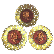 English Copper Brass Wall Plates of 3 Music Greats