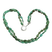 Genuine Turquoise Two Strand Necklace Flat Oval Bean Beads