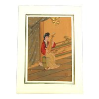 Japanese Painting on Silk - Lady w / Biwa Lute