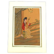 Japanese Painting on Silk - Lady w / Biwa Lute