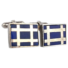 Modernist WEH Sterling Silver Enamel Cufflinks Almost Tic Tac Toe