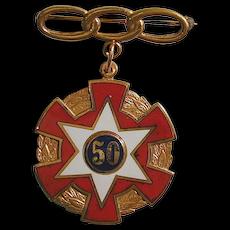 Vintage ODD FELLOWS IOOF Enamel 50-Year Medal Pin