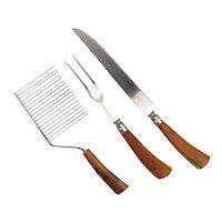 Set of 3 Bakelite Serving Pieces Knife Fork Gripper Cutter