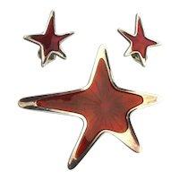 MEKA Denmark Sterling Enamel Star Pin Earrings Set