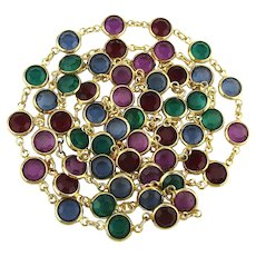 Signed SWAROVSKI Multi-Color Crystal Necklace 34 Inches