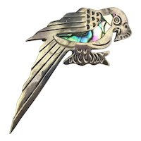 Mexican Taxco 925 Sterling Parrot Bird Pin Brooch