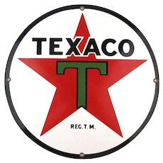 Vintage TEXACO Porcelain Sign Pump Plate - Round Gas Station Star