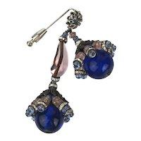 Art Deco Epic Stick Pin Dangling Cobalt Glass Rhinestones Metal Art