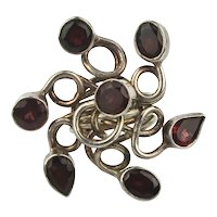 Big Whirling Sterling Silver Ring w/ Garnet Stones