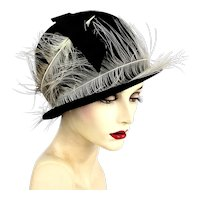 Art Deco Era Feathery Black Cloche Hat