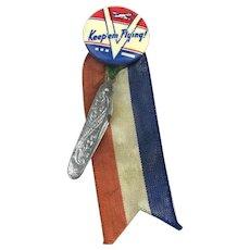 WWII KEEP 'EM FLYING ~V~ Celluloid Pin w/ Ribbon Mini Knife Charm