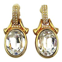 Swarovski Crystal Door Knocker Clip Earrings
