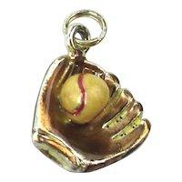 Mini Sterling Silver Baseball Glove Ball Mitt Charm Orig. Card Jezlaine
