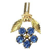 Gold Filled Blue Crystal Pendant Necklace by J J White Co.