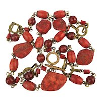 Long 3 Way Red Coral Bead Necklace w/ Carnelian