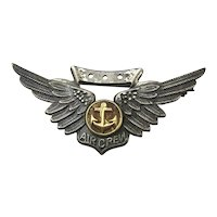 WWII Sterling Silver H.H. AIR CREW Navy Wings Pin