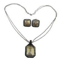 Judith Jack Sterling Silver Marcasite Set Necklace Earrings
