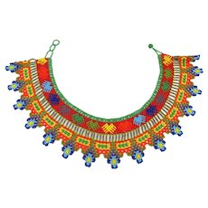 Colorful Hand Beaded Native American Collar Necklace