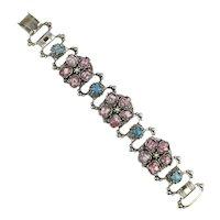 Vintage Glass Spotty Stone Link Bracelet